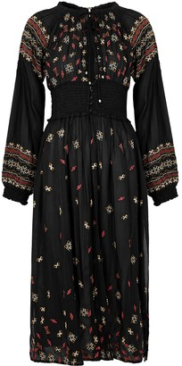 Free People Mykonos black embroidered longline top
