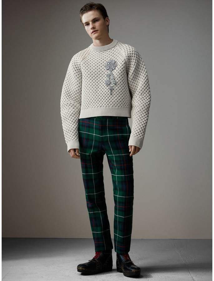 Burberry Tartan Wool Cropped Tailored Trousers