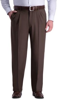 Haggar Big & Tall Premium Comfort Classic-Fit Pleated Hidden Expandable Waistband Dress Pants