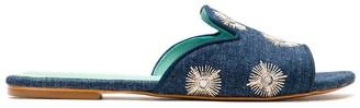 Blue Bird Shoes Mirror Embellished Denim Slides