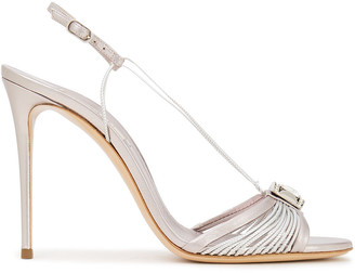 Casadei Embellished Metallic Leather Slingback Sandals