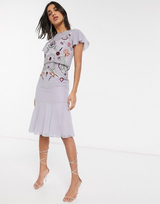 Frock and Frill embellished peplum hem midi dress in lilac