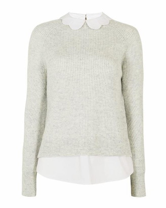 Ted Baker Uleen Ribbed Frill Collar Mock Neck Jumper