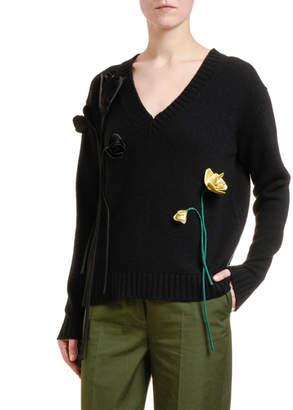 Prada Cashmere 3D Floral Sweater