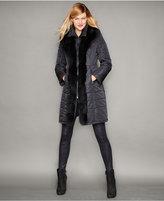 The Fur Vault Fox-Fur-Trim Quilted Puffer Coat