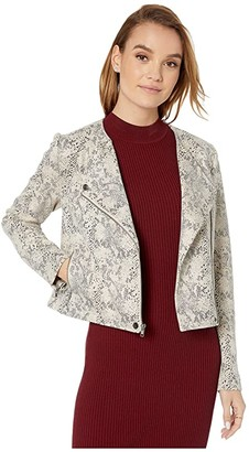Cupcakes And Cashmere Isabell 'Snake' Printed Suede Moto Jacket (Latte) Women's Clothing