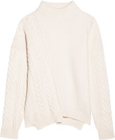 Jil Sander Asymmetric Ribbed And Cable-knit Wool Sweater - Ivory