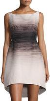 Halston Ombre Bateau-Neck Dress, Buff/Black