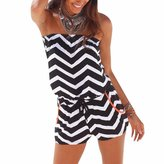 WINSON Women Summer Strapless Jumpsuits Shorts Playsuit Romper Beach Striped Printe