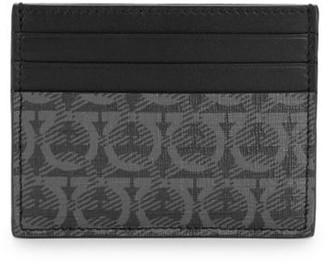 Salvatore Ferragamo Gancio-Print Flat Leather Card Holder