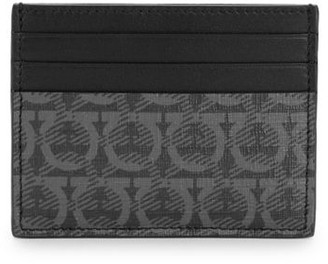 Salvatore Ferragamo Gancio-Print Flat Leather Card Holder