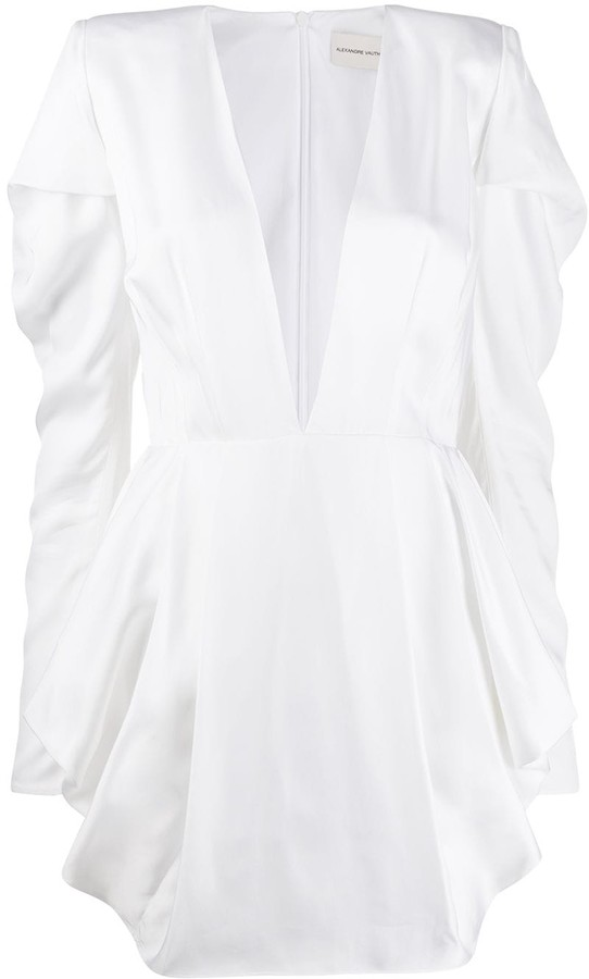Alexandre Vauthier Plunge Neck Long Sleeved Dress