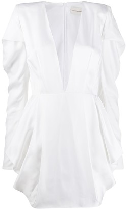 Alexandre Vauthier Plunge Neck Long Sleeved Dress