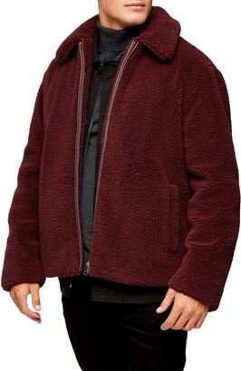 Topman Slim Fit Faux Shearling Teddy Coat