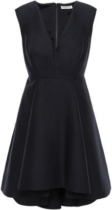 Halston Flared Pleated Cotton And Silk-blend Mini Dress