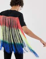 Asos Design ASOS DESIGN relaxed t-shirt with longline multicoloured fringing in black