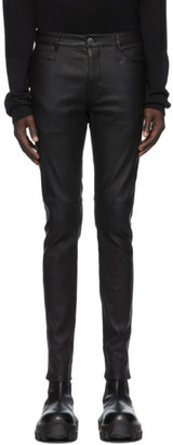 Rick Owens Black Leather Tyrone Pants