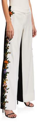 Oscar de la Renta Embroidered Side-Striped Two-Tone Pants