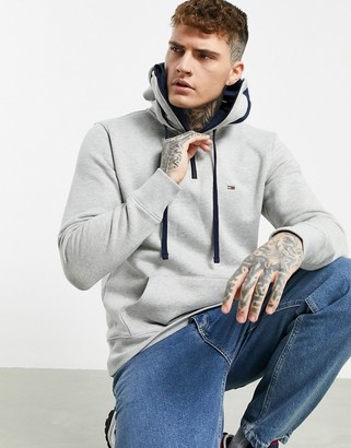 Tommy Jeans flag logo zip funnel-neck hoodie in grey marle