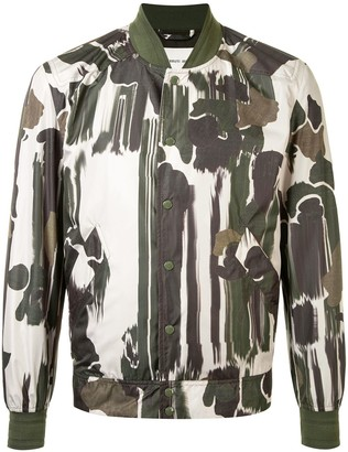 Cerruti Long Sleeve Camouflage Print Bomber Jacket