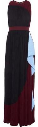 Roksanda Draped Color-block Plisse Crepe De Chine Gown