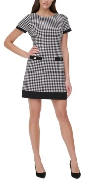 Tommy Hilfiger Petite Contrast-Trim Houndstooth Dress