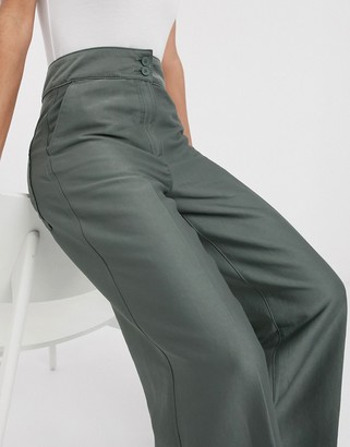 Weekday Naomi wide leg trousers in khaki