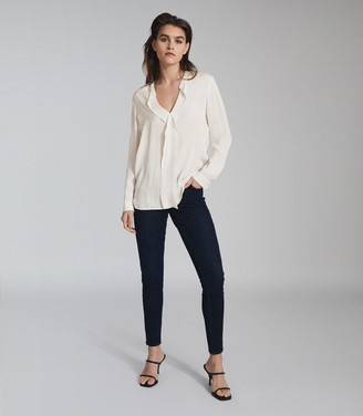 Reiss ROCHELLE PINTUCK DETAILED BLOUSE Ivory