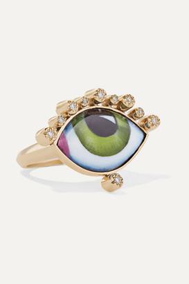 Lito Tu Es Partout 14-karat Gold, Enamel And Diamond Ring - 6