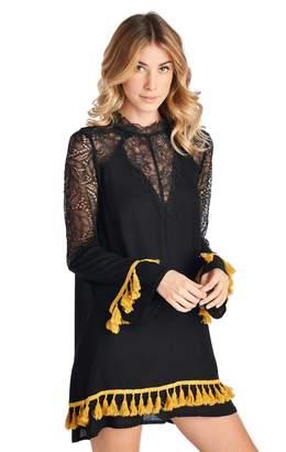 Racine Lbd Contrast-Color-Fringe Dress