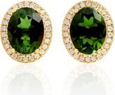 Artisan 18Kt Gold Tourmaline Pave Diamond Designer Stud Earrings
