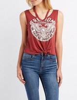 Charlotte Russe Graphic Cut-Out Tank Top