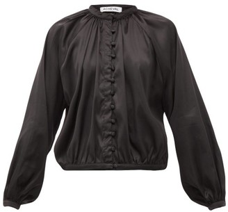 ÀCHEVAL PAMPA Gloria Silk-blend Satin Blouse - Womens - Black