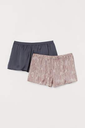 H&M 2-pack satin pyjama shorts