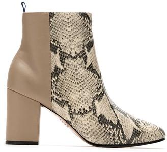 Blue Bird Shoes snakeskin effect Duo boots