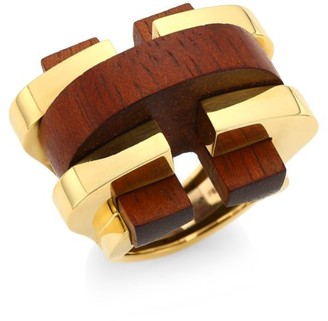 David Webb Woodworks 18K Yellow Gold & Cocobolo Bridge Ring