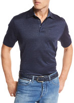 Ermenegildo Zegna Cotton-Silk Polo Shirt, Medium Blue