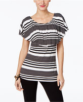 INC International Concepts Petite Striped Flounce Top, Only at Macy's