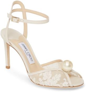 Jimmy Choo Sacora Imitation Pearl Ankle Strap Sandal