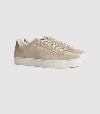 Reiss Finley - Suede Trainers in Mid Grey