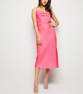 New Look Bright Satin Tiger Jacquard Midi Dress