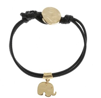 Kith&Kin Black Cord With Gold Plated Elephant
