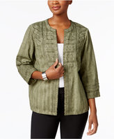 Alfred Dunner Petite Cotton Mixed-Media Jacket