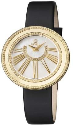 Gevril Women's Fifth Avenue Diamond Swiss Quartz Leather Strap Watch, 38mm - 0.084 ctw