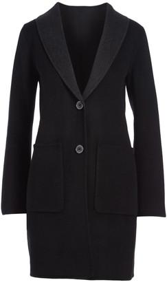 Tahari Women's Car Coats BLACK/DEEP - Black & Deep Charcoal Double Faced Wool Coat - Women