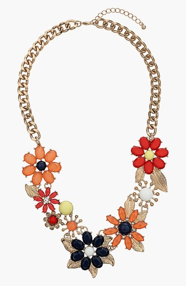 Topshop Flower Stone Chain Collar Necklace