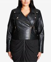 City Chic Trendy Plus Size Faux-Leather Moto Jacket