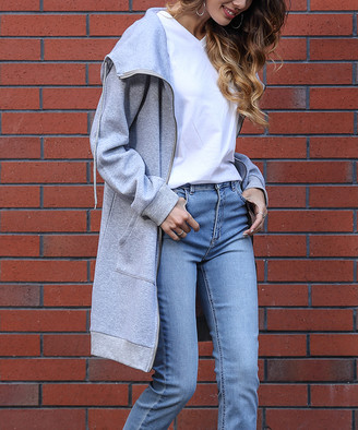 Z Avenue Women's Sweatshirts and Hoodies Light - Light Gray Oversize Zip-Up Hoodie - Women & Plus
