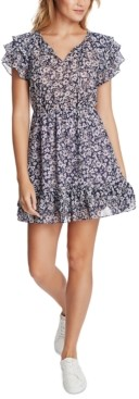 1 STATE Floral-Print Ruffled Dress