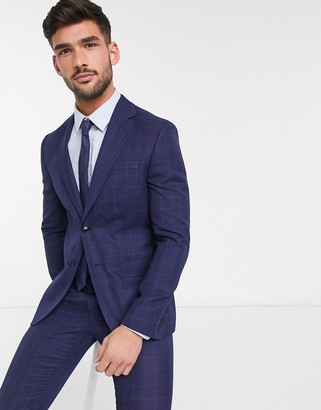 Moss Bros eco suit jacket in blue check